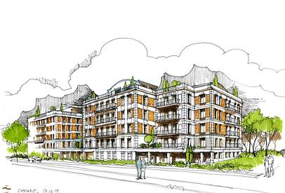 Croquis de présentation pour un concoursd'opération de logement à  iais pour l'agence A26-BLM
