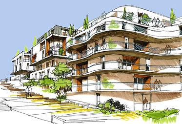 Croquis d' étude pour un concours pour un projet de logements à Divonnes-Les-Bains pour l'agence A26-BLM