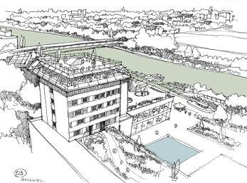 Croquis d'étude pour la réhabilitation du complexe hôte- lier Nogentel à Nogent sur Marne