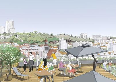 Croquis de présentation pour une opération de logements à Bagnolet pour Réalités Promotion