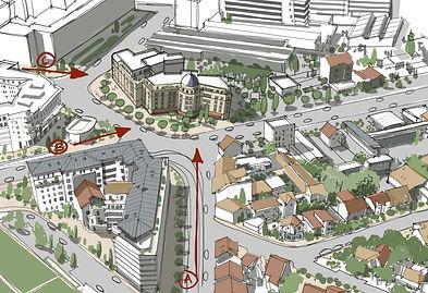 Croquis d'étude pour un projet de logements à Is- sy-Les-Moulineaux pour A26-BLM