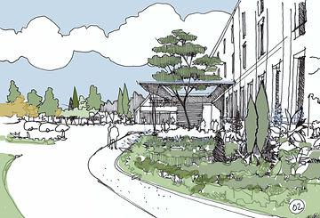 Croquis de présentation pour un Ehpad et une résidence service au Mesnil-Saint-Denis pour l'agence BVA (Barbosa-Vivier architectes)