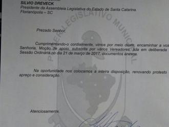 Câmaras de Palhoça e Bombinhas e vereador Fábio Dalonso, de Joinville apoiam o QOA