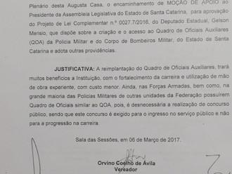 Câmara Municipal de São José faz Moção de Apoio para aprovação do QOA