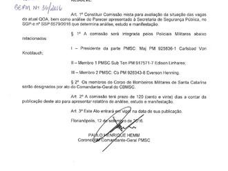 Diretor social e cultural da ABERSSESC participará da comissão criada na PMSC para estudar o QOA