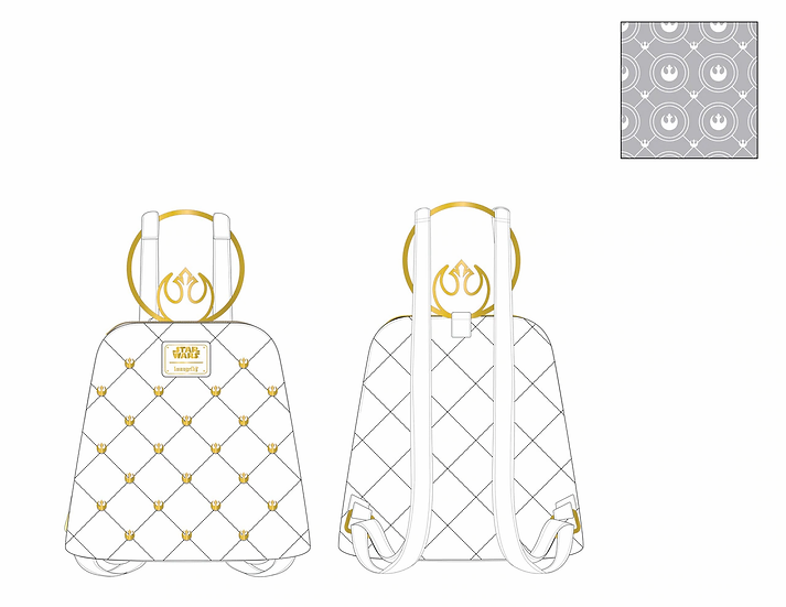Pre-Order Loungefly Star Wars White Gold Rebel Mini Backpack