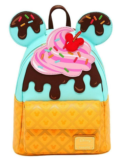 Pre-Order Loungefly Mickey and Minnie Sweets Ice Cream Mini Backpack
