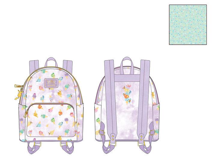 Pre-Order Loungefly Pokemon Ice Cream Acid Wash Denim Mini Backpack
