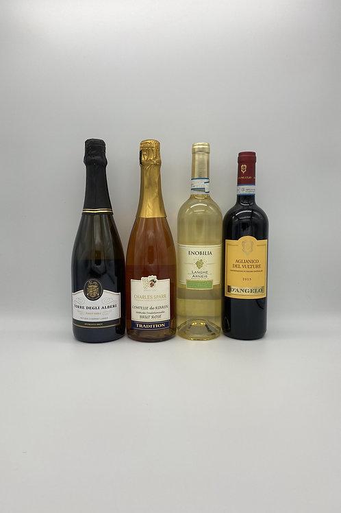 デイリーワイン4本セット(泡2本、白ワイン1本、赤ワイン1本)