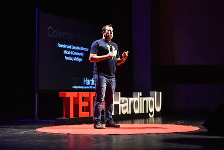 Executive Director, Coleman Yoakum speaking at Harding University's TEDx event in October of 2018.