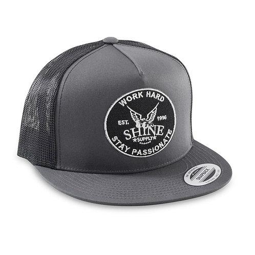 """""""WORK HARD"""" TRUCKER SNAPBACK HAT (FLAT BILL) - CHARCOAL/BLACK"""