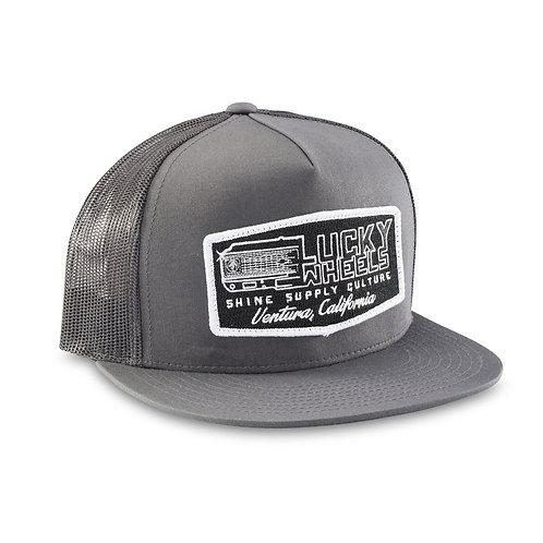 """WORK HARD"" TRUCKER SNAPBACK HAT (FLAT BILL) - DARK GRAY/GRAY"