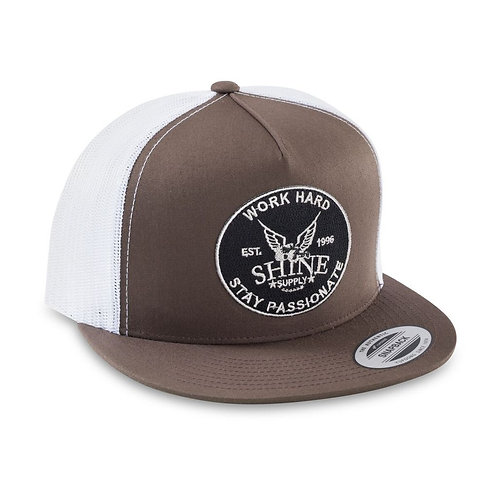 """WORK HARD"" TRUCKER SNAPBACK HAT (FLAT BILL) - BROWN/WHITE"