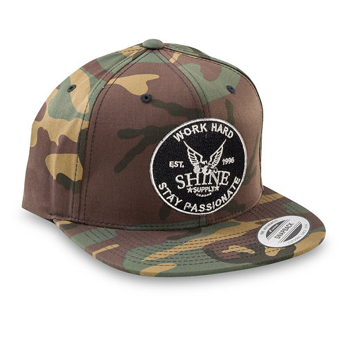 """WORK HARD"" SNAPBACK HAT (FLAT BILL) - CAMO"
