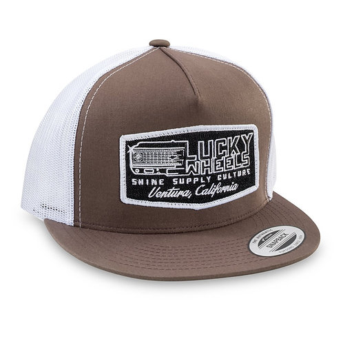 """""""LUCKY WHEELS"""" TRUCKER SNAPBACK HAT (FLAT BILL) - BROWN/WHITE"""