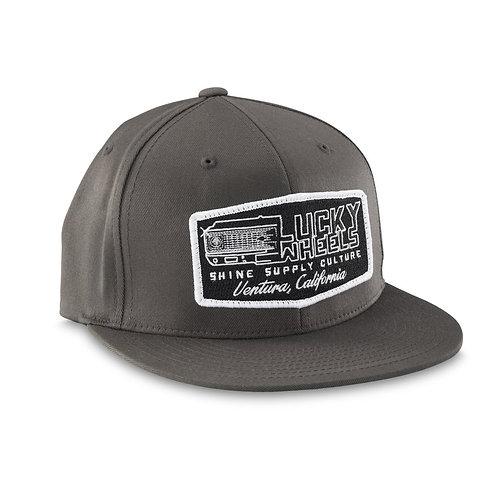 """LUCKY WHEELS"" FLEXFIT HAT (FLAT BILL) - DARK GRAY L/XL"