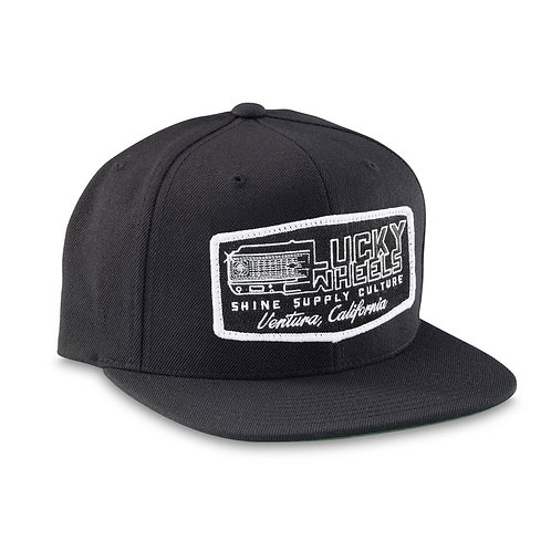 """LUCKY WHEELS"" SNAPBACK HAT (FLAT BILL) - BLACK"