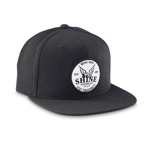 """WORK HARD"" FLEXFIT HAT (FLAT BILL) - BLACK L/XL"