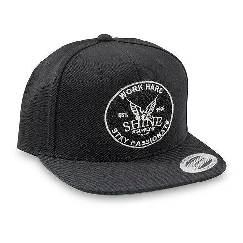 """""""WORK HARD"""" SNAPBACK HAT (FLAT BILL)- BLACK"""