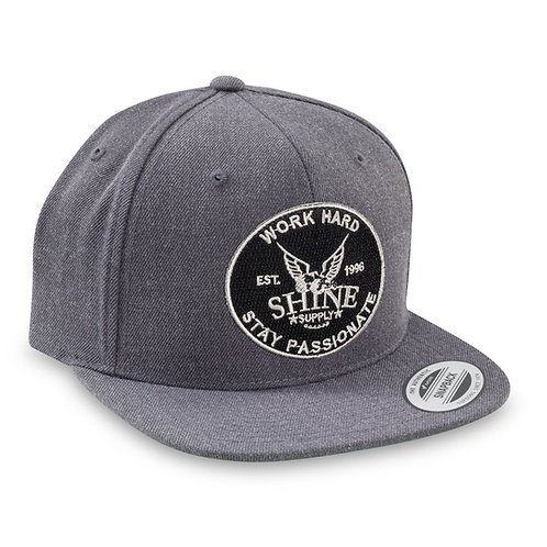 """WORK HARD"" SNAPBACK HAT (FLAT BILL) - CHARCOAL GRAY"
