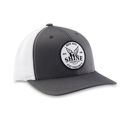 """WORK HARD"" TRUCKER SNAPBACK HAT (CURVED BILL) - DARK GRAY/WHITE"