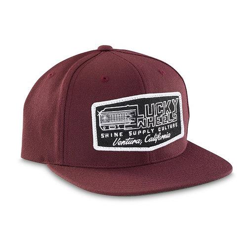 """""""LUCKY WHEELS"""" SNAPBACK HAT (FLAT BILL) - MAROON"""