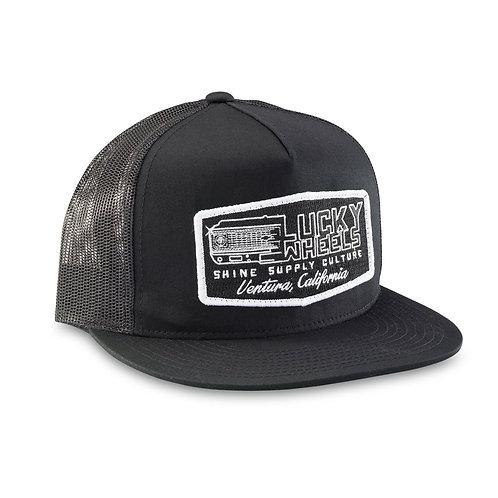 """LUCKY WHEELS"" TRUCKER SNAPBACK HAT (FLAT BILL) - BLACK/BLACK"