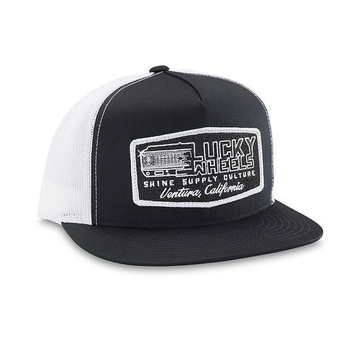 """LUCKY WHEELS"" TRUCKER SNAPBACK HAT (FLAT BILL) - BLACK/WHITE"