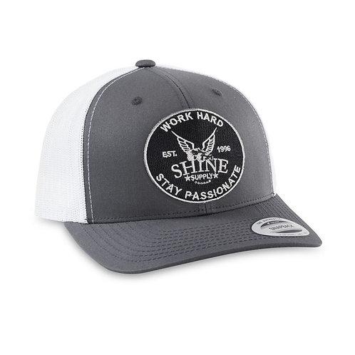 """WORK HARD"" TRUCKER SNAPBACK HAT (CURVED BILL)- CHARCOAL/WHITE"