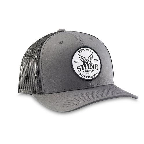 """WORK HARD"" TRUCKER SNAPBACK HAT (CURVED BILL) - DARK GRAY/BLACK"