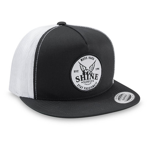 """WORK HARD"" TRUCKER SNAPBACK HAT (FLAT BILL) - BLACK/WHITE"