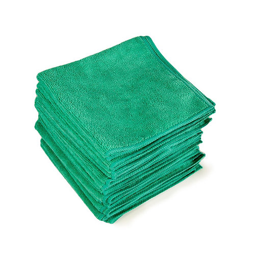 """GREEN MICROFIBER """"TADDY"""" TOWELS 16""""X16"""" - 12 PACK"""