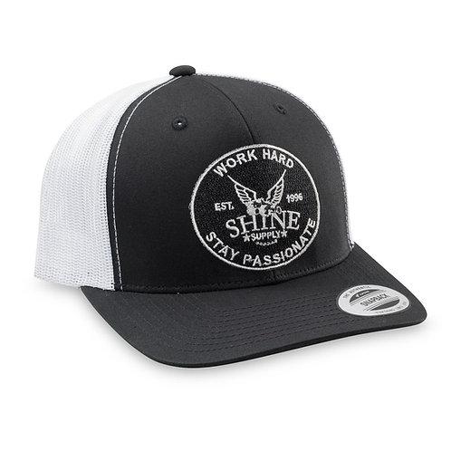 """WORK HARD"" TRUCKER SNAPBACK HAT (CURVED BILL) - BLACK/WHITE"