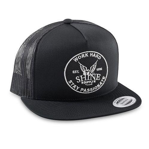 """""""WORK HARD"""" TRUCKER SNAPBACK HAT (FLAT BILL) - BLACK/BLACK"""