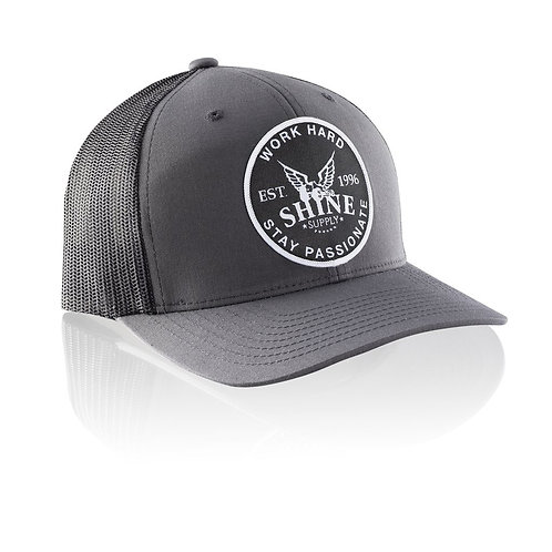 """WORK HARD"" TRUCKER SNAPBACK HAT (CURVED BILL) - CHARCOAL GRAY/BLACK"