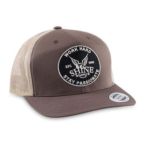 """WORK HARD"" TRUCKER SNAPBACK HAT (CURVED BILL)- BROWN/TAN"
