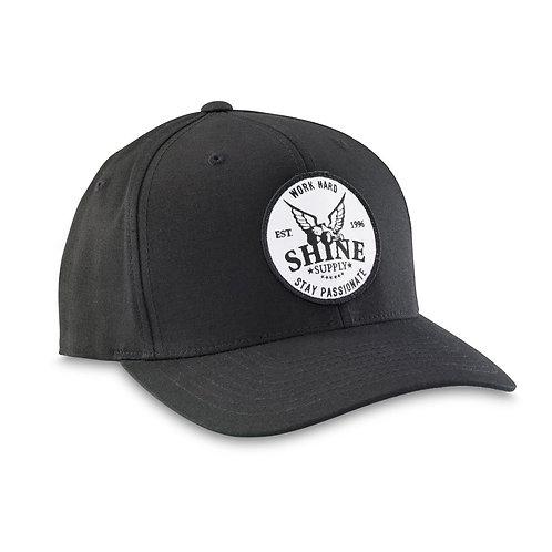"""WORK HARD"" FLEXFIT HAT (CURVED BILL) - BLACK S/M"