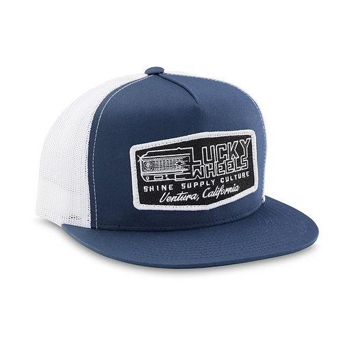 """LUCKY WHEELS"" TRUCKER SNAPBACK HAT (FLAT BILL) - NAVY BLUE/WHITE"