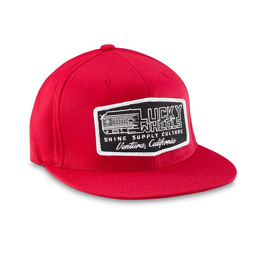 """LUCKY WHEELS"" FLEXFIT HAT (FLAT BILL) - RED L/XL"