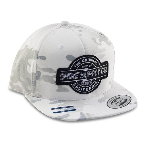 SHINE SUPPLY CO. SNAPBACK HAT - WHITE CAMO