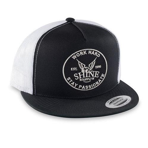 """WORK HARD"" TRUCKER SNAPBACK HAT (FLAT BILL)- BLACK/WHITE"