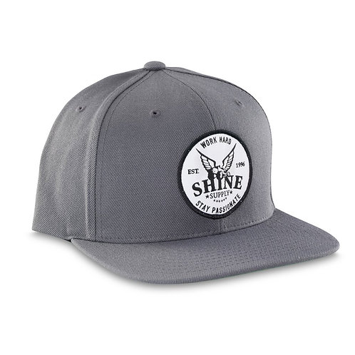 """WORK HARD"" SNAPBACK HAT (FLAT BILL) - STEEL GRAY"