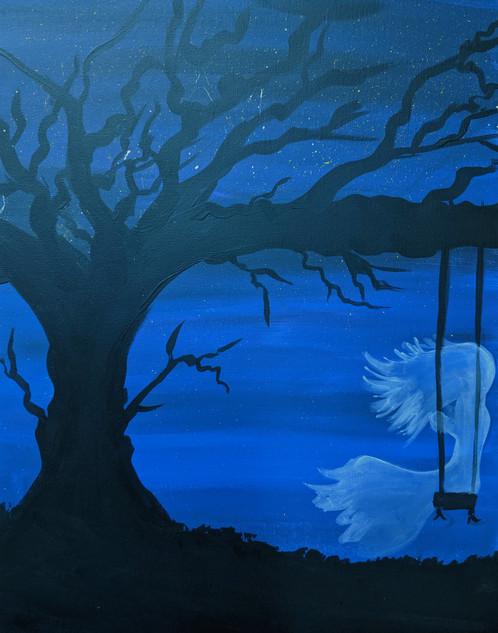 Ghost Girl on swing