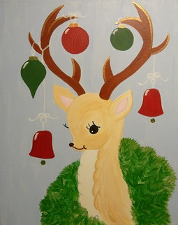 Deer with Ornaments in Red and Green