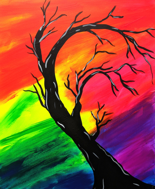 Glow Tree of colors 16X20
