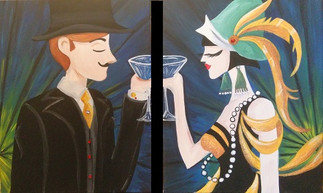 Couples Painting - Flapper Girl and Damp