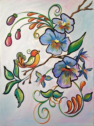 Singnoing Bird in flowers