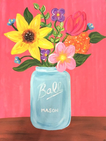 Flowers in ball Jar