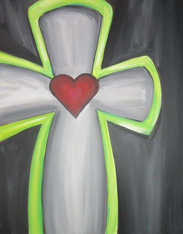 Cross in Gray and Lime