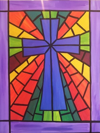 Cross in stained glass